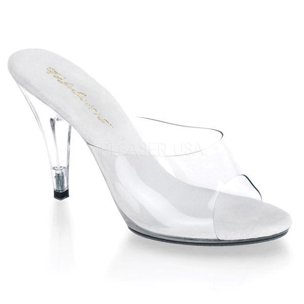 Durchsichtige High-Heel Pantolette mit heller Lederinnensohle CARESS-401